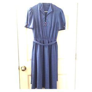 Vintage blue midi dress puff sleeves